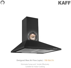 Kaff Wall and Ceiling Mounted 60 cm 700 m3/h Black Chimney ( BASE LX 60 BLK )