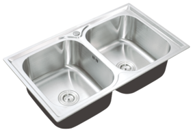 KAFF KS 85 DB | Double bowl stainless steel sink | Anti Condensation Coating Thick Sound reduction pad on bottom | With strainer and pipe