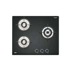 Kaff VRH 603 3 Burner Automatic Hobs Black Gas Stove , ISI Certified