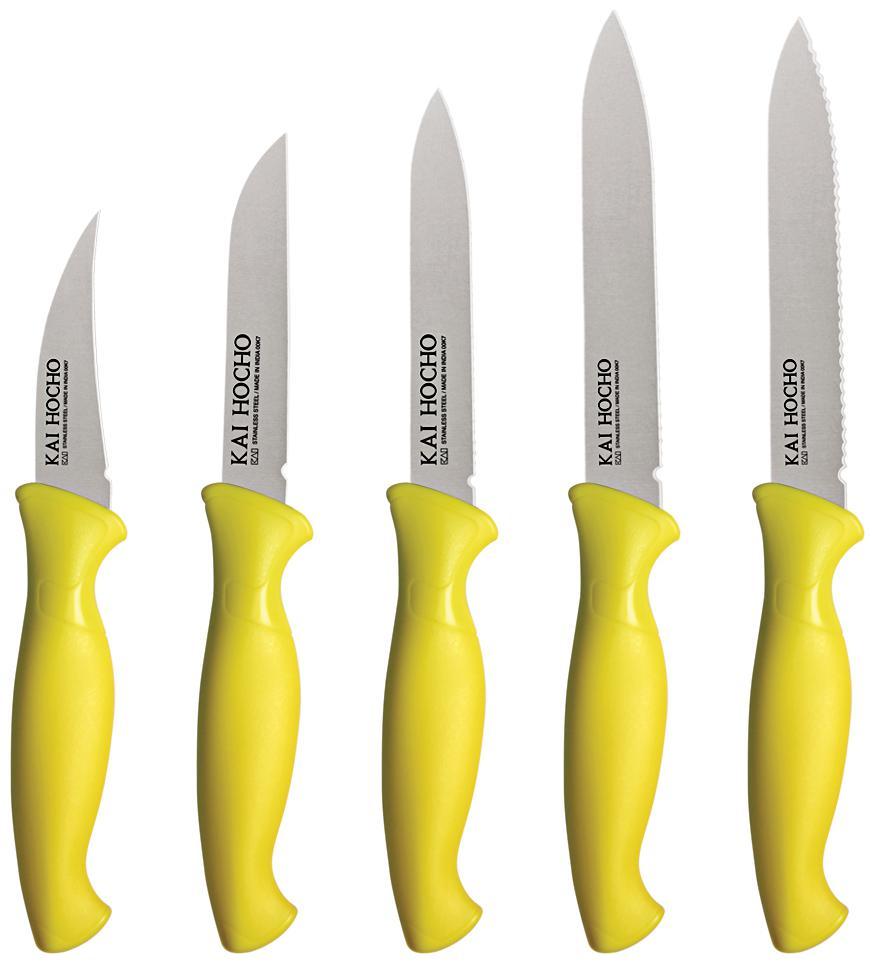 Kai Hocho Stainless Steel Knife Set   Yellow