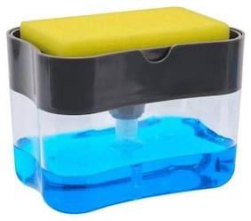 KajKin 2 in 1 Soap Dispenser for Dishwasher Liquid Holder  Liquid Dispenser Through Pump ( Multi-Color  400 ML) with Sponge