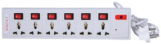 kaltron VE1011 Three Pin White Extension Board ( 5 m , 6 Socket , 6 Switches)