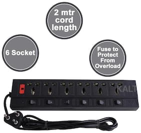 kaltron VE101_ New Black Extension Board ( 2 m , 6 Socket , 6 Switches)