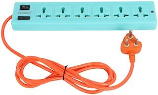 kaltron VEB601 Three Pin Blue Extension Board ( 2 m , 6 Socket , 1 Switches)