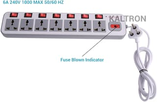 kaltron VE107 Three Pin White Extension Board ( 1.5 m , 7 Socket , 7 Switches)