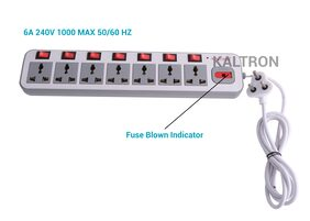 Kaltron 7+7 Powerstrip Extension Box (Cord Length: 2m) (White)