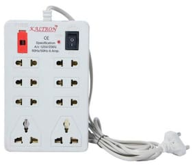 kaltron Multi Pin White Extension Board ( 2.5 m , 8 Socket , 1 Switches)