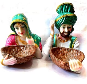 Kanhaclues Punjabi Culture Sardar & Sardarni Statue Marble Look Washable Statue For Home Decore;Office Decore;Gifted Purpose Use