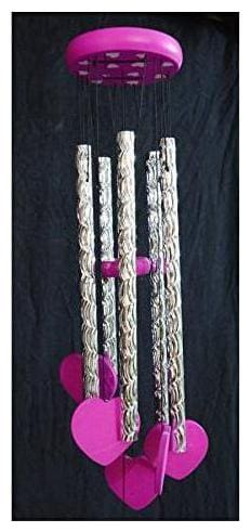 KARTIK  Metal Store Feng Shui Tinkling Sound Heart Wind Chime for Home/Office/Balcony (Pink)
