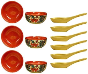 Katori Soup Bowl With Spoon Ceramic/Stoneware in Glossy Orange Flower (Set of 6) Handmade By Caffeine