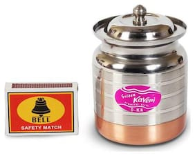 Kaveri Stainless Steel Ghee  Oil Containers/ Pot With Copper Bottom  Capacity : 200 ml  Diameter : 6.3 cm