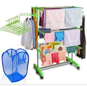 Kawachi Mild Steel with ABS Plastic Laundry Hanger Cloth Drying Stand With Laundry Basket Bag & 6 pcs Hanger Combo