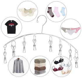 Kawachi Stainless Steel Laundry Drying Rack, 8 Clips Clothes Socks Dryer Socks, Undergarments, Towels, Scarf, Baby Clothes Space Saving Drying Hanger (Silver)