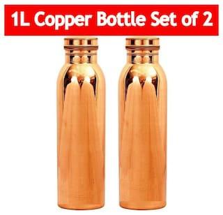 KC Copper Brown Water Bottle ( 1000 ml , Set of 2 )