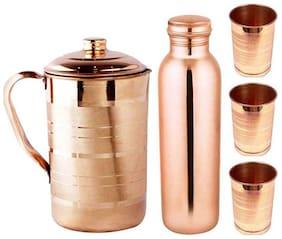 KC Copper Jug 1.5 Ltr , Bottle 1000 ML And 3 Glasses Set of 5 Combo