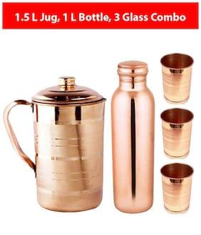 KC Copper Brown Water Bottle ( 1000 ml & 1500 ml , Set of 5 )