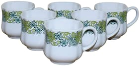 KC Somny Ceramic Floral Border (08B) Coffee Cup & Tea Cup Set of 6 120ml