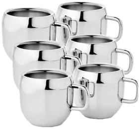 KC Stainless Steel Double Walled Tea/Coffee Cup Set Of 6