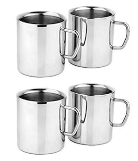 KC Stainless Steel Double Walled Coffee Mug Set of 4