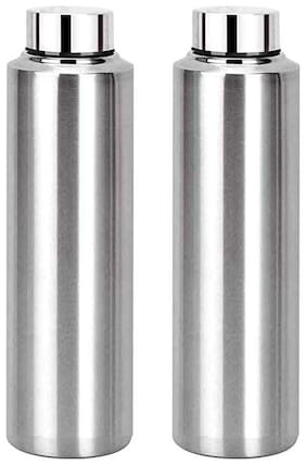 KC Stainless Steel Silver Water Bottle ( 1000 ml , Set of 2 )