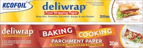 Kcofoil Deliwrap 20m food Wraping and 20m Baking Parchment Paper (Set of 2)