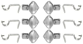 Kelly's Decor chrome finished metal Curtain Bracket Set Of 6 with support (Elegant look with strong material)