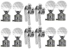 Kelly's Decor chrome finished metal Curtain Bracket Set Of 8 with support (Elegant look with strong material)