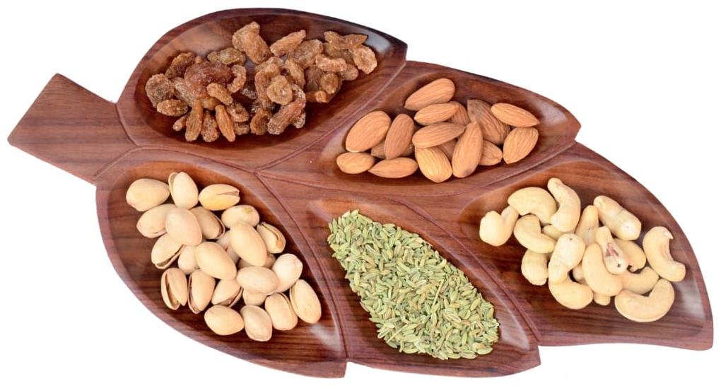 KESHA SPREE Export Quality Serving (Snacks;Dry Fruits) Home/Kitchen Handcrafted Wooden Tray/Platter (5...