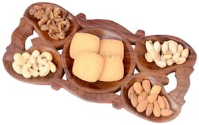 KESHA SPREE Export Quality Serving (Snacks;Dry Fruits) Home/Kitchen Handcrafted Wooden Tray/Platter (5 Compartments)