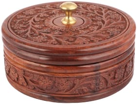 Kesha Spree Handcrafted Wooden Box Pot Serving Bowl with Lid for Chapatis 7 inch