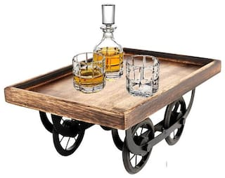 Kesha Spree  Exclusive Wood Cart, Snack Serving Platter for Dining Table, (L x W x H) :- 11.50 x 7.50 x 5.00 in Inches - Export Quality