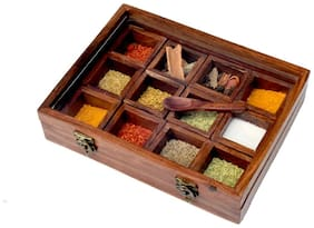 Kesha Spree Wooden Spice Box with Spoon for Kitchen Spice Container for Kitchen Wooden Masala Box - 10 x 8 x 2.3 inch
