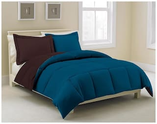 Kiaana Blue And Black Reversible Polyester Bedspread
