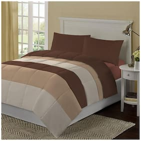 Kiaana Brown And Beige Horizontal Bands Polyester Bedspread