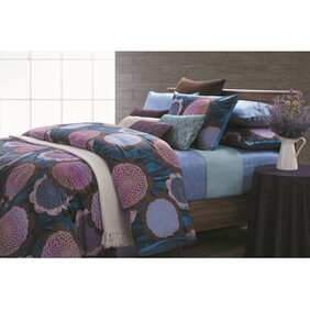 Kiaana Cotton Blue And Purple 1 Bedsheet With 2 Pillow Covers