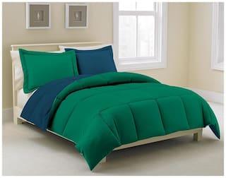 Kiaana Green And Blue Reversible Polyester Bedspread
