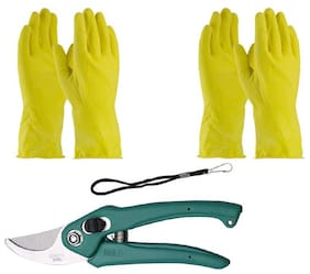KIAT-Gardening Tools - Reusable Rubber Gloves (2 Pair) With Flower Cutter-Multi Cutter