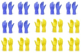 KIAT-RUBBER HAND GLOVES (LARGE)-(SET OF 15 PAIR)-YELLOW & BLUE