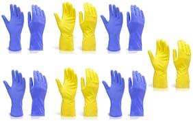 KIAT- RUBBER CLEANING GLOVES (LARGE)-(SET OF 7 PAIR)-YELLOW & BLUE