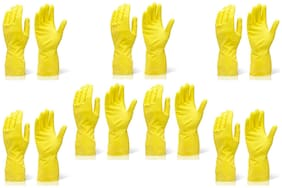 KIAT-RUBBER CLEANING HAND GLOVES - (SET OF 7 PAIR) - YELLOW