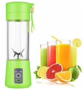 Kich Draw Portable Green Usb Electric Blender Juicer Cup Smoothie Maker Electric Juice Maker Machine For Fruits And Vegetables 380Ml Juicer Cup Bottle 4 Blades