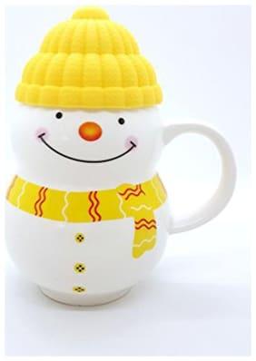 Kidzel Snowman Milk Mugs for Kids (Yellow) | Ideal for Diwali |Birthday|Return Gifts