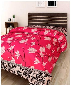 KIHOME Microfibre Printed Single Size Bedsheet 144 TC ( 1 Bedsheet Without Pillow Covers , Pink )