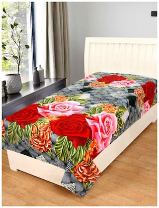 KIHOME Microfiber Printed Single Size Bedsheet 144 TC ( 1 Bedsheet Without Pillow Covers , Multi )