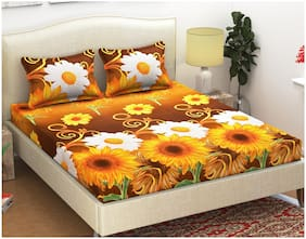 KIHOME Microfibre Floral Double Size Bedsheet 144 TC ( 1 Bedsheet With 2 Pillow Covers , Yellow )