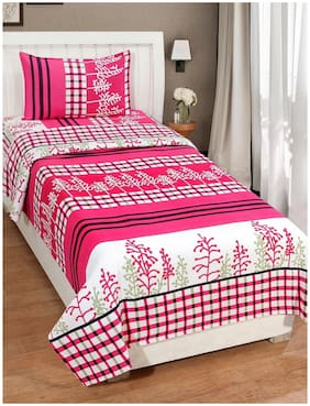 KIHOME Microfibre Floral Single Size Bedsheet 144 TC ( 1 Bedsheet With 1 Pillow Covers , Pink )