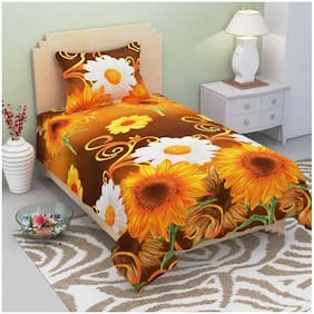KIHOME Microfibre Floral Single Bedsheet ( 1 Bedsheet With 1 Pillow Covers , Yellow )