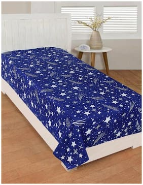 Kihome Beautiful Color Blue Star Kids 1 Single Bed-sheet without Pillow ( Topsheet )