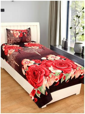 Kihome Beautiful Print 1 Single Bedsheet with 1 Pillow Cover-Red Rose
