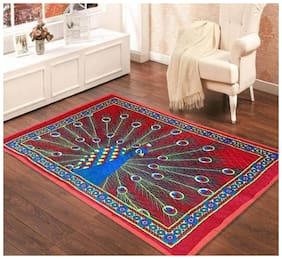KIHOME Jute Abstract Carpet Red